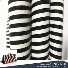 Stripe Printed PVC Leather imitation leather fabric for making bags purse ipad case
