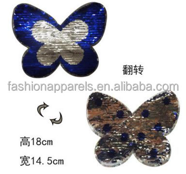 Garment accessories butterfly Sew On reversible sequin patches