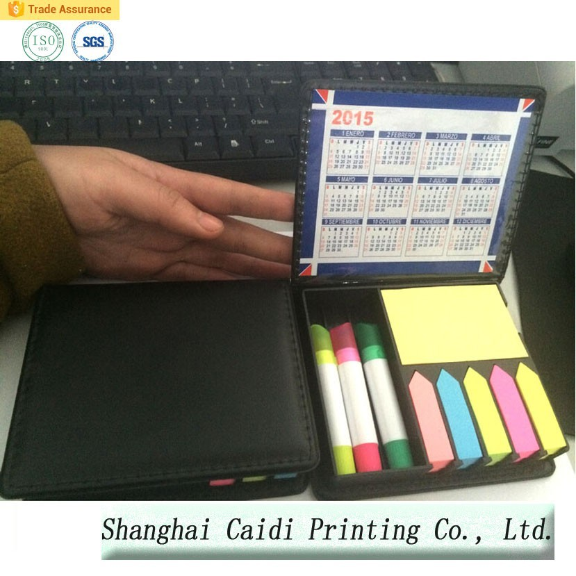 Pu leather sticky notes with calendar /pen