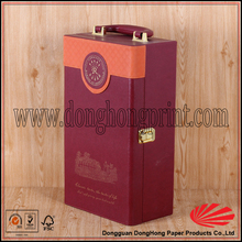 Custom portable double wine bottle gift packing leather carrier wine box