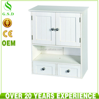 wholesale new design bathroom hanging white wood cabinet with 2 drawers