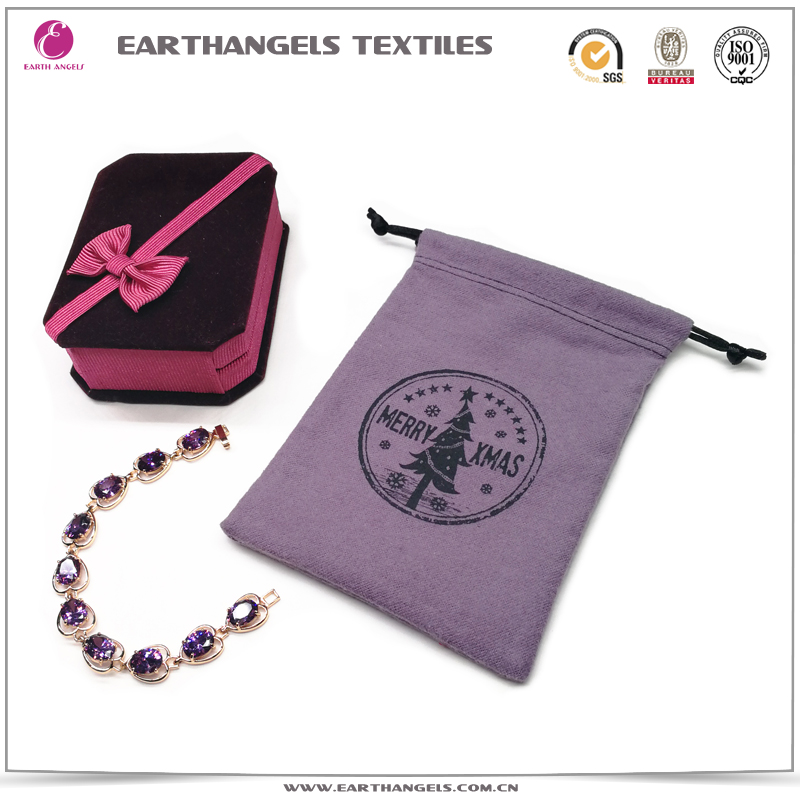 Custom small drawstring cotton jewelry bag pouch with logo