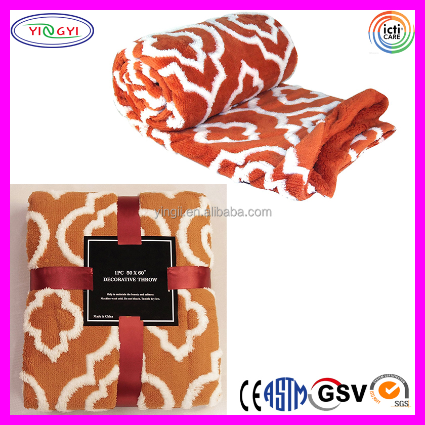 C978 Jacquard Sherpa Throw Royal Blanket Burnt Orange Faux Fur Royal Jacquard Blanket