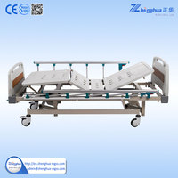 Cheapest Steel structured three crank manual hospital bed for elderly
