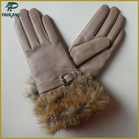 Fashion sexy nude lady leather gloves with fur