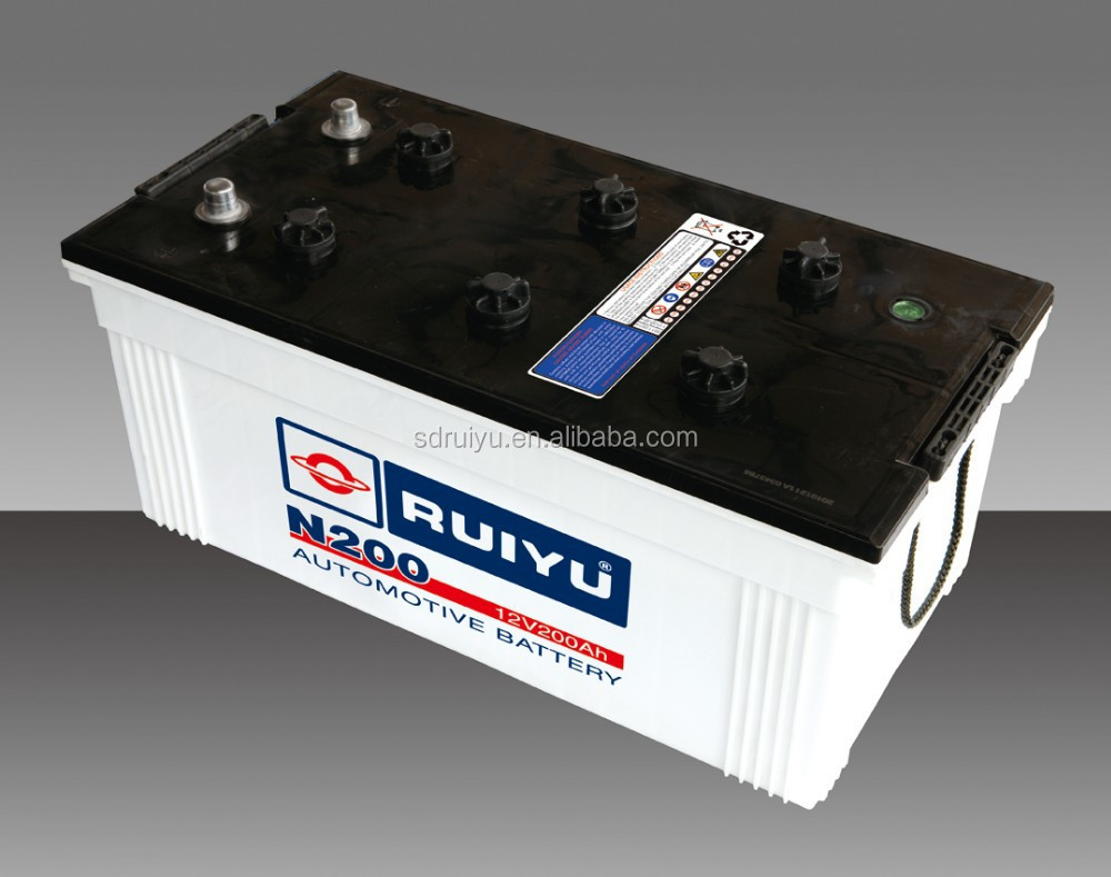 Dry charged automotive battery N200 12 V200AH car battery