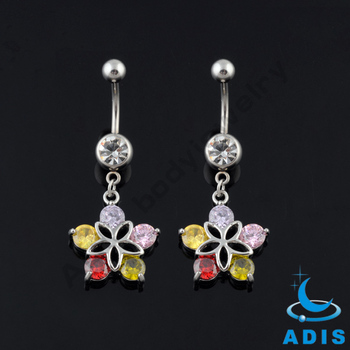 Crystal 316L Steel Dangle Belly button rings Navel rings Navel piercing Body jewelry