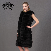 Excellent design women long fox fur gilet with black color