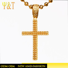 Jingli Jewelry Pave Setting Cross CZ All Gold Copper Pendant For Christmas(YJ-0084)