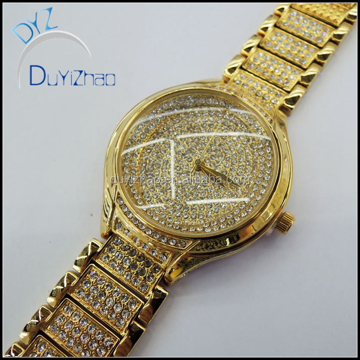 yiwu factory wholesale hip hop high quality gold diamond watches mens diamond watches