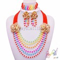 long chain bridal jewelry sets red coral beads design jewellery panyu jewelry factory