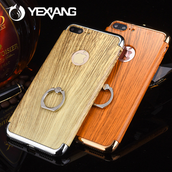 With Ring Holder 3 in 1 Electroplating Wood Skin Pattern Case For iphone 7 Case Back Cover