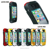 china suppiler love mei metal Waterproof Case With Gorilla Glass For iphone 4 4s