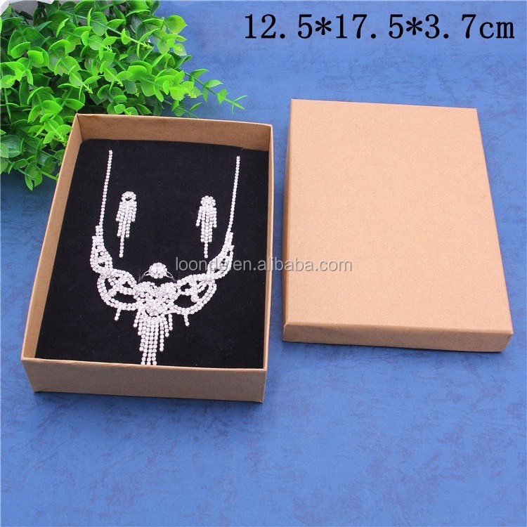 Custom plain kraft paper jewelry gift box for necklaces rings earrings