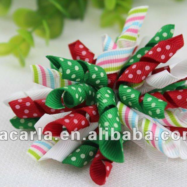 Christmas green&red korker hair bows