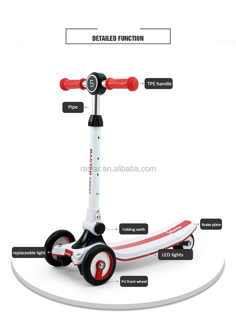 Rastar china factory kids toy shopping flash light scooter