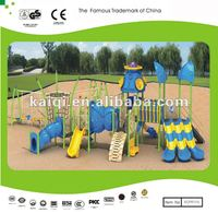 LLDPE plastic Children Commercial playground & Playset with Five Long Slides, tunnels and Climber Nets