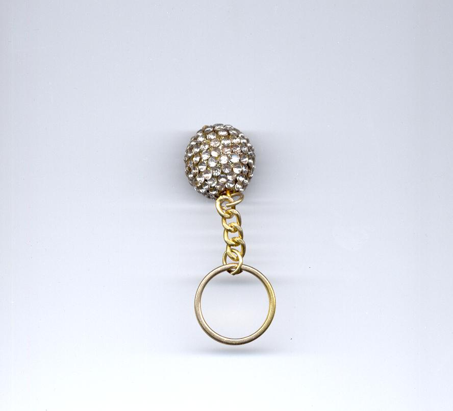 glittering stone fitted ball Key Chain