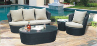 PE Rattan Furniture Curved Sofa Set Outdoor Sofa Patio Sofa