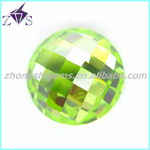 Round Faceted Apple Green Cabochon CZ Beads