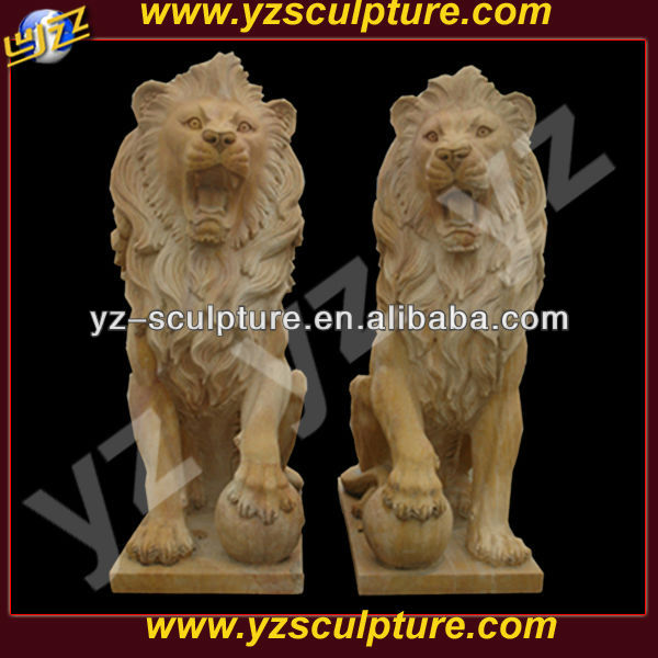 outdoor yellow marble lion statues for sale