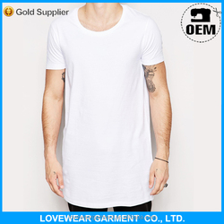 Fashion White Plain Design Slim Fit Long Line T Shirt Men