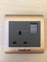 Good quality 16 amp wall socket with 3 pins outlet and light switch