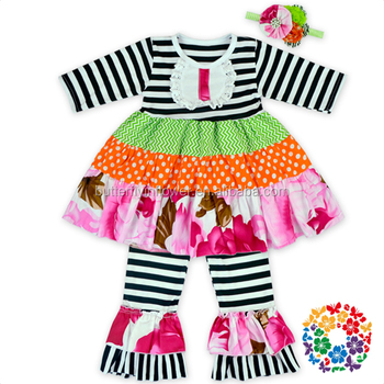 2016 New Design Baby Kids Clothes Children Frocks Designs Bib Shirt Dress/Ruffle Pants/Headband Girls Boutique Clothing Outfits