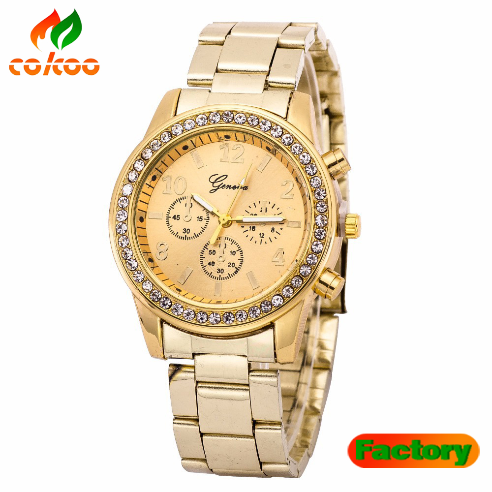 Hot Sale Fashion Dress Gold Rose Gold Geneva Quartz Wristwatch Wrist Watch for Women Men Full Stainless Steel Metal Quartz Watch