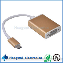80 centigrade VW-1 130mm long UL cable USB Type C to VGA adapter with metal casing