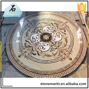 China cheap inlay tile round mosaic floor patterns waterjet marble medallion