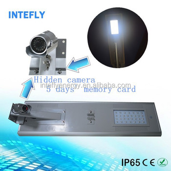 Hidden Camera Monitoring Solar Security Light Solar Street Light with PIR Motion Sensor