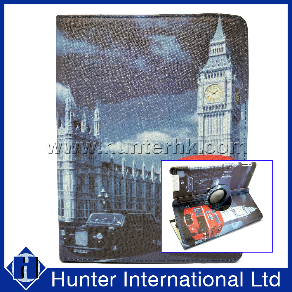Printed Clock Tower Rotating Tablet Case For iPad 4