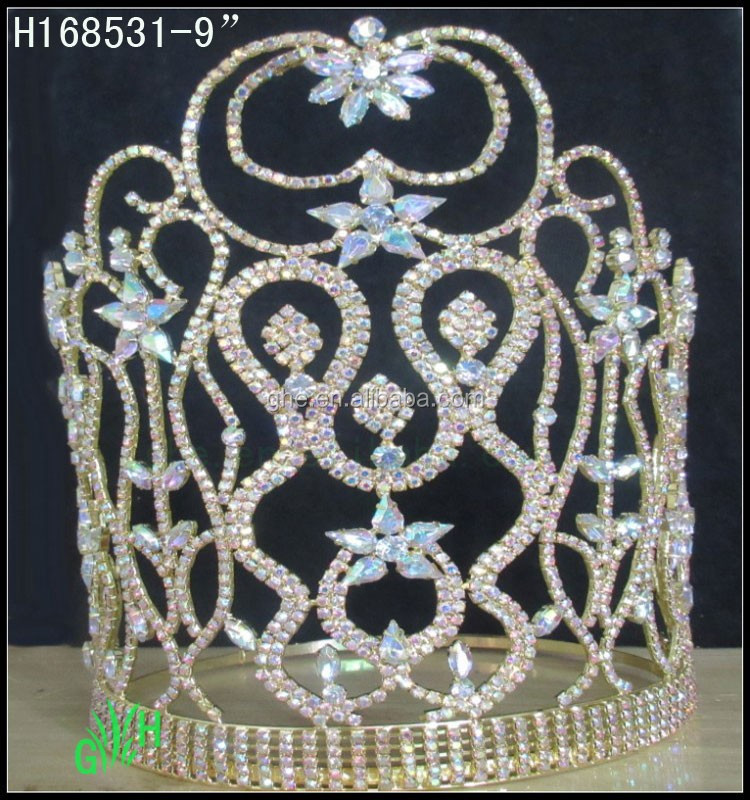 New wholesale fashion pageant gold AB rhinestone crowns tiaras