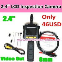 2.4 inch waterproof IP67 handheld lcd inspection camera with AV out, 8mm head, AA power