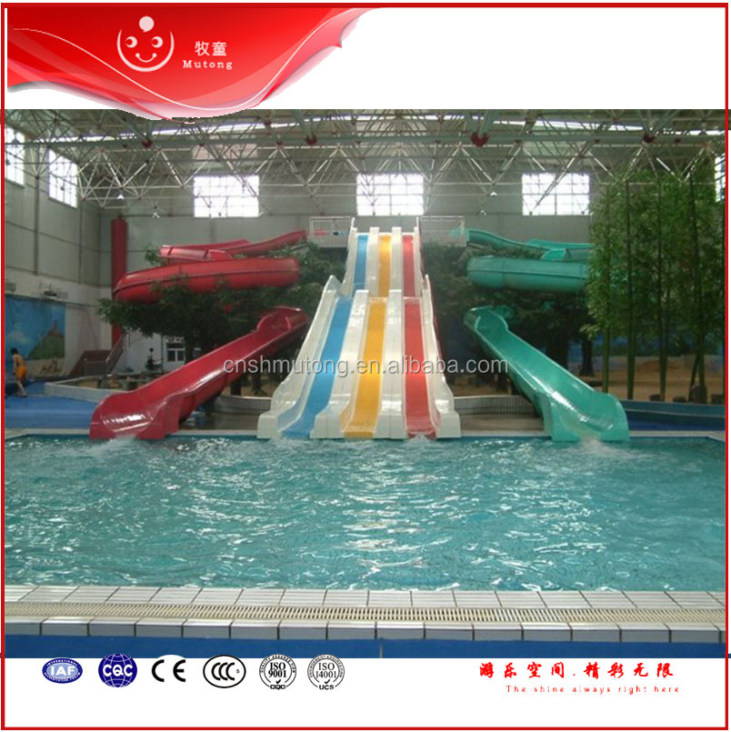 Hot Sale Indoor Large Spiral Adult Water Slides And Rainbow Wavy Mat Racer Water Slide