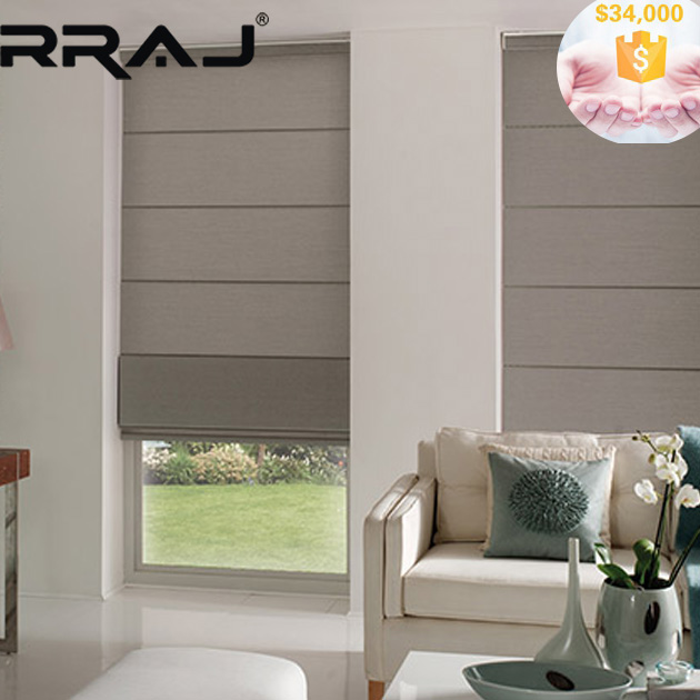 RRAJ Soft Blackout Fabric Roman Shade with DOOYA Motor