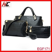 Top selling lady hand messager bag 3 pcs/set Alligator Pattern high quality women bags