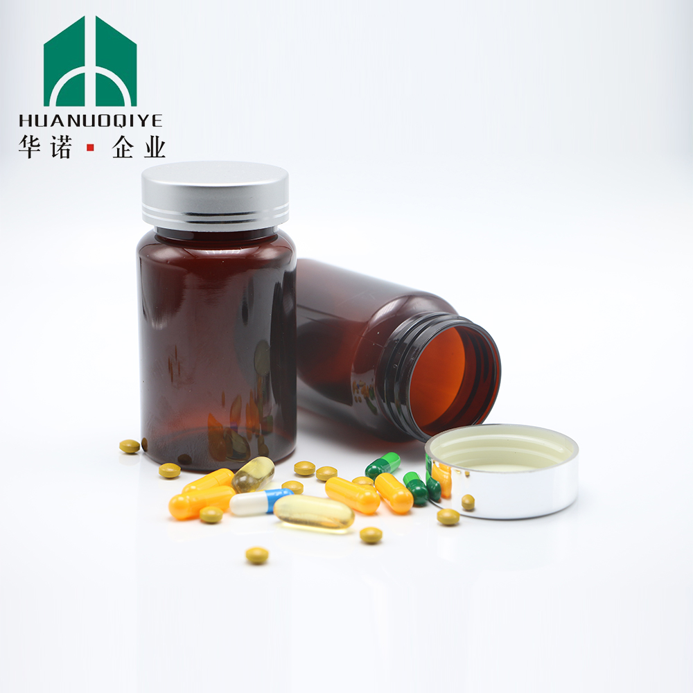 150 cc Amber plastic PET capsule bottle