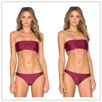 Italy Fabric made Wine Reversible Ladies Seamless Bikini