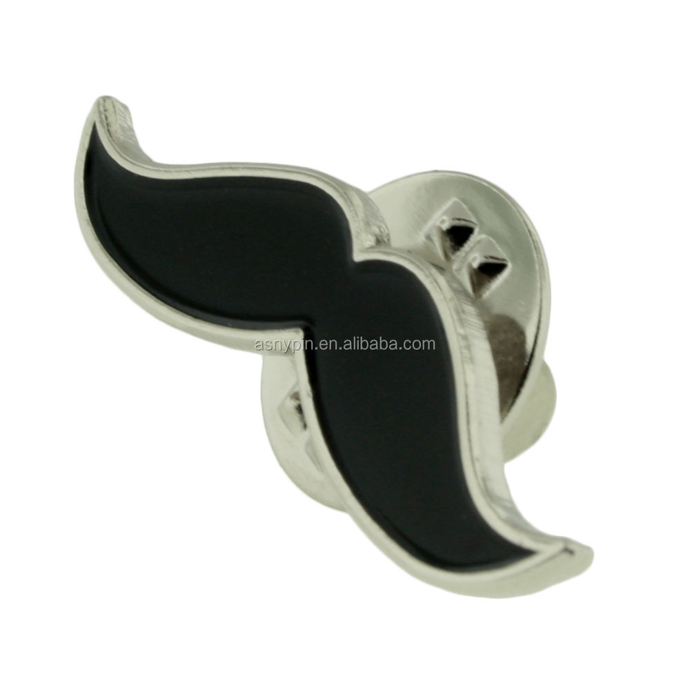 Soft Enamel Black And Silver Mustache Lapel Pin
