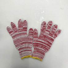 Red cotton knitted gloves warm colored cotton gloves
