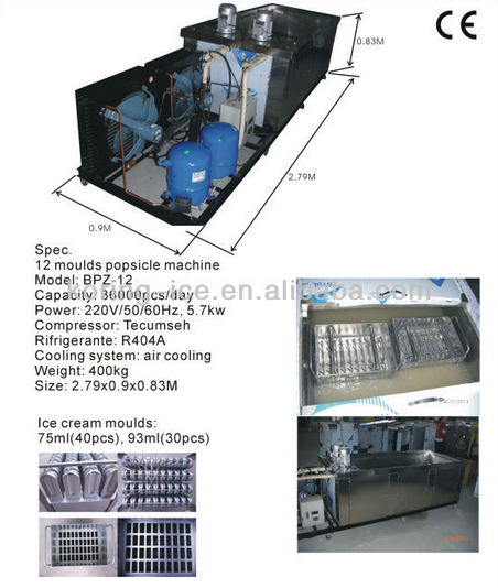 factory price ice-lolly machine with 12 molds
