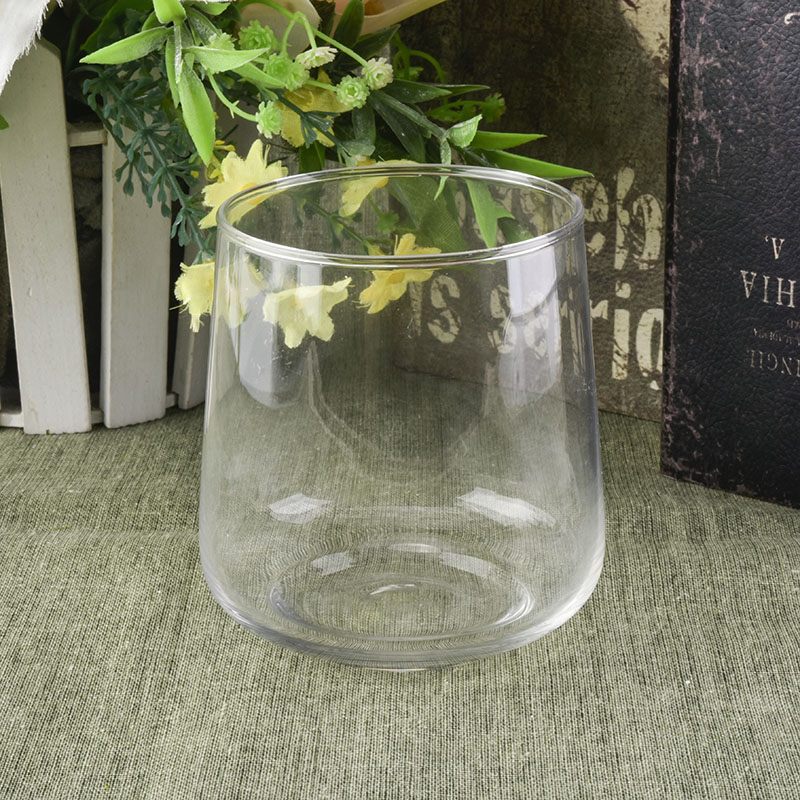 Large bottom glass candle jar crystal clear quality