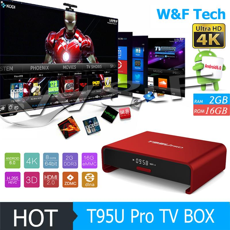 Red Metal Housing Android 6.0 TV Box amlogic s912 octa core t95u pro kodi 17.0 tv box 2GB 16GB Octa Core 4K tv box
