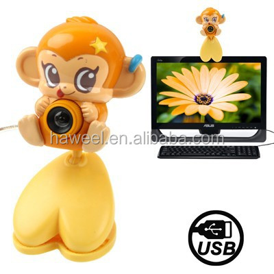 USB 2.0 Cartoon Monkey Style 0.48 Mega Pixels Driverless PC Camera / Webcam, Cable Length: 1.2m