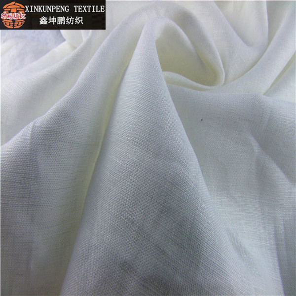 Wholesale natural and azo-free breathable pure white linen fabric for garment
