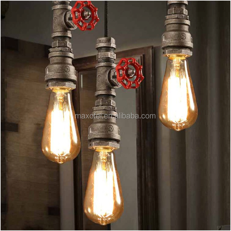 Nordic Industrial loft iron pipe Pendant light Edison Vintage Bulbs E27 5 Arms Lights
