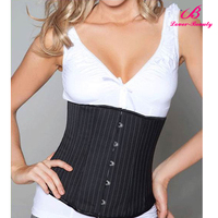 Big stock Pinstripe elastic underbust corset for busty women