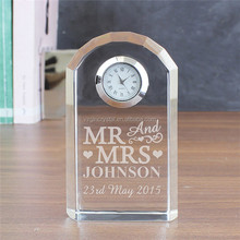 Arch Shaped Glass Desk Clock for Wedding Souvenirs, Logo Supplied